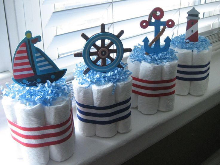 four nautical mini diaper cakes for baby shower decoration or new baby gift nautical baby shower nautical diaper cake