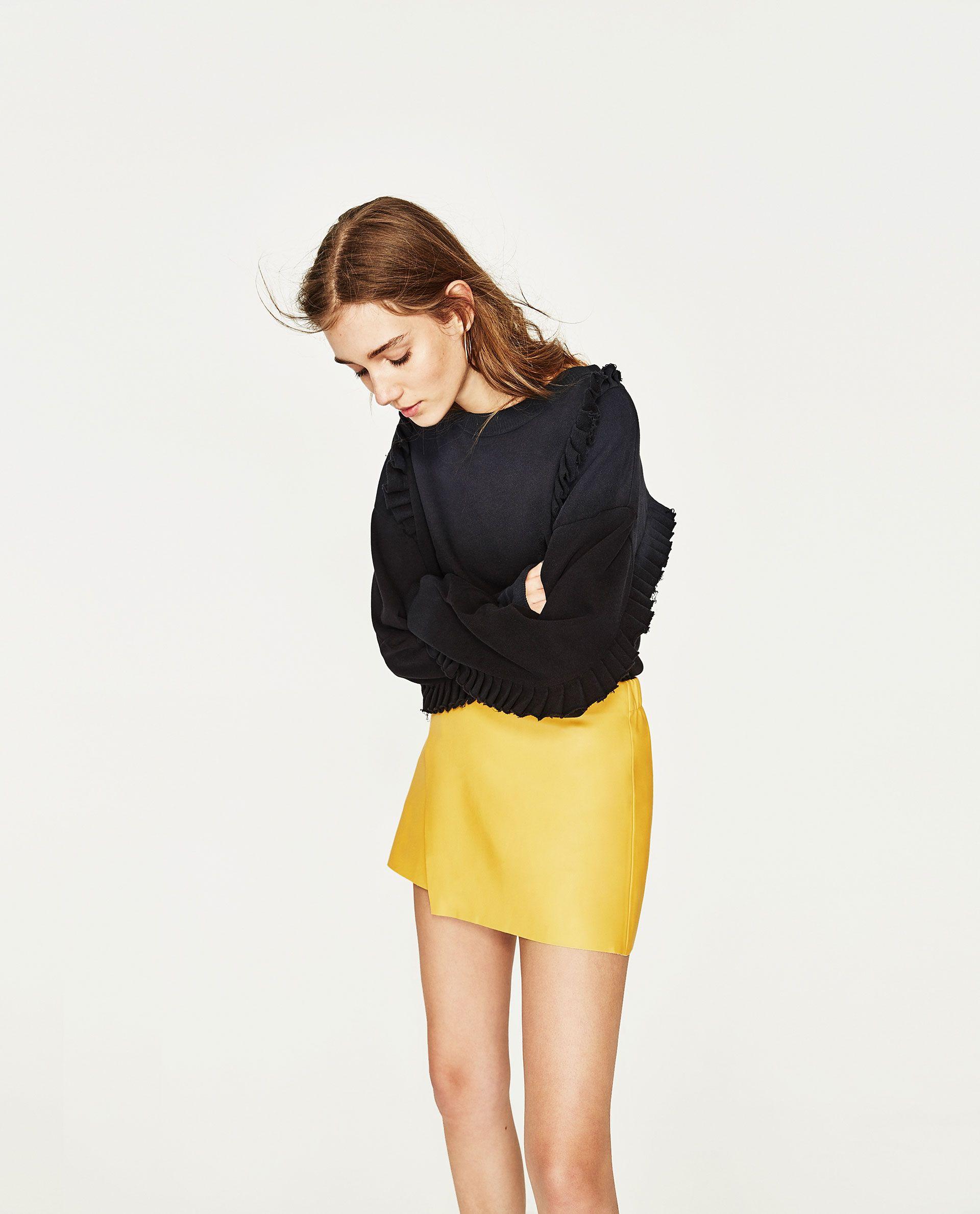 2ed4bd054b ZARA YELLOW LEATHER EFFECT MINI SKIRT | Clothes | Yellow mini skirt ...