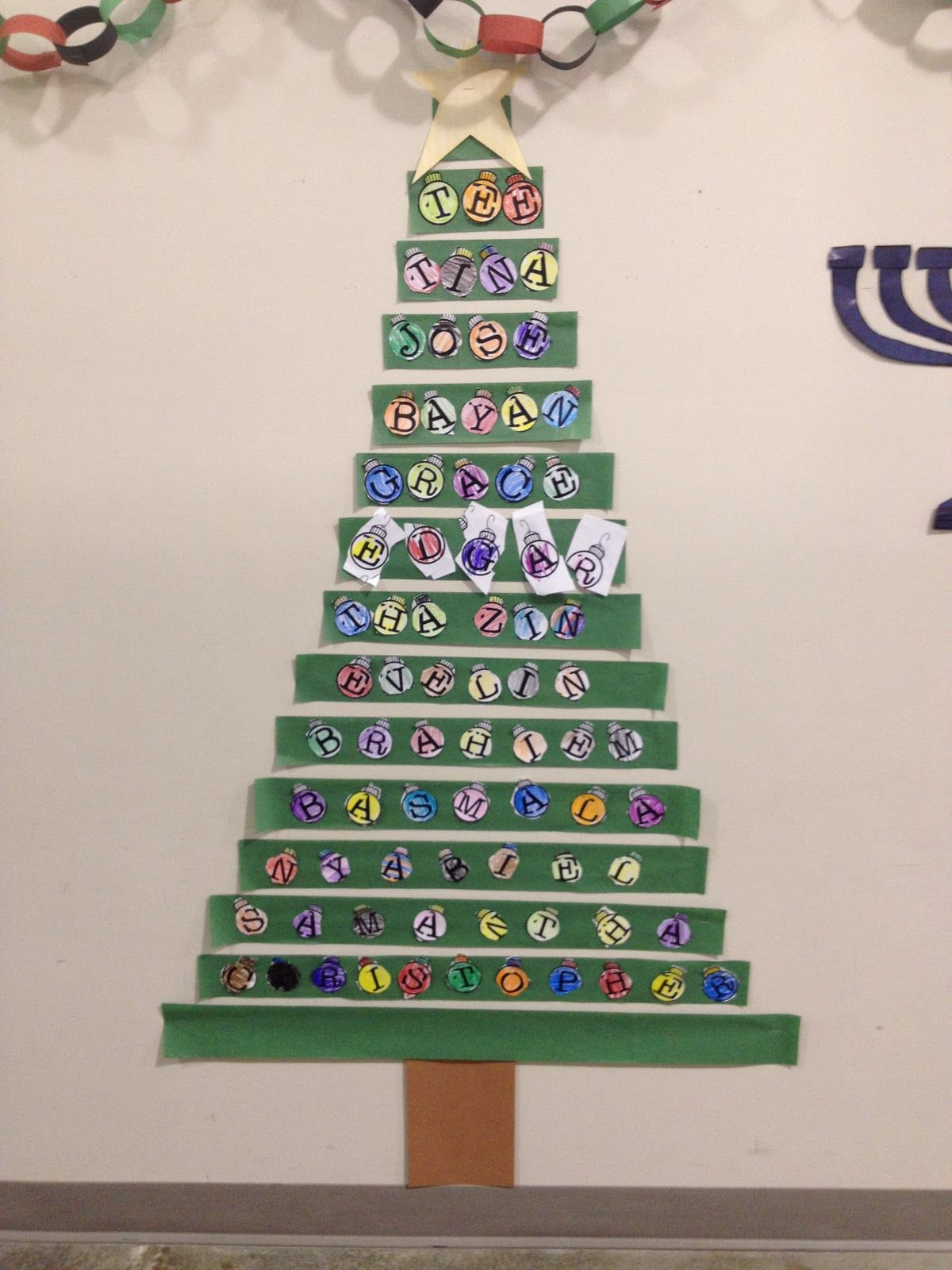 Christmas tree classroom door decorations - Classroom Christmas Tree With Names Great For Hallway