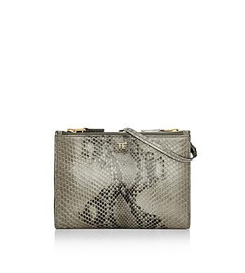 PYTHON TRIPLE ZIP POUCH WITH LEATHER SHOULDER STRAP Tom Ford