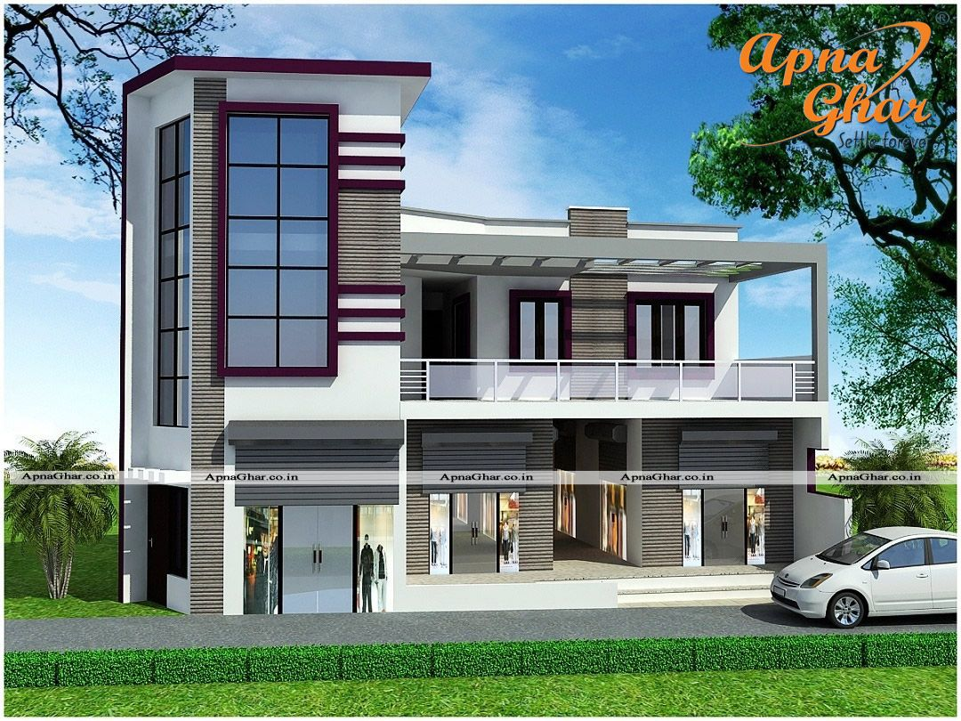 Commercial cum residential 5 bedroom duplex 2 floors house design along with commercial shops Modern residential house plans