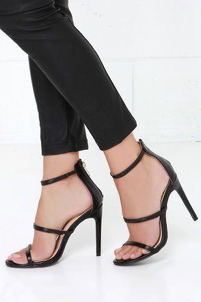 three love black dress sandals  black strap heels prom