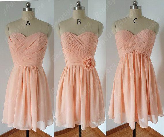 Short Light Peach Bridesmaid Dress Wedding Party By