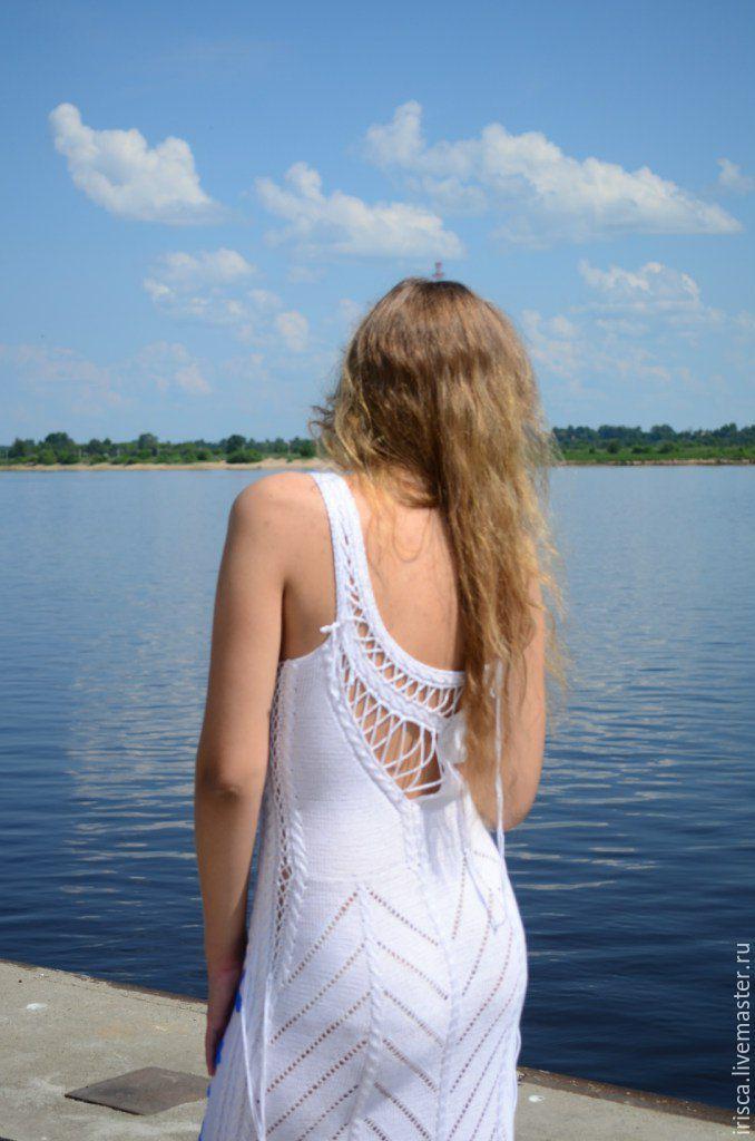 """Купить Вязаное вечернее платье """"День"""" по идеям Зои Вулвич - белый, однотонный, белое платье"""