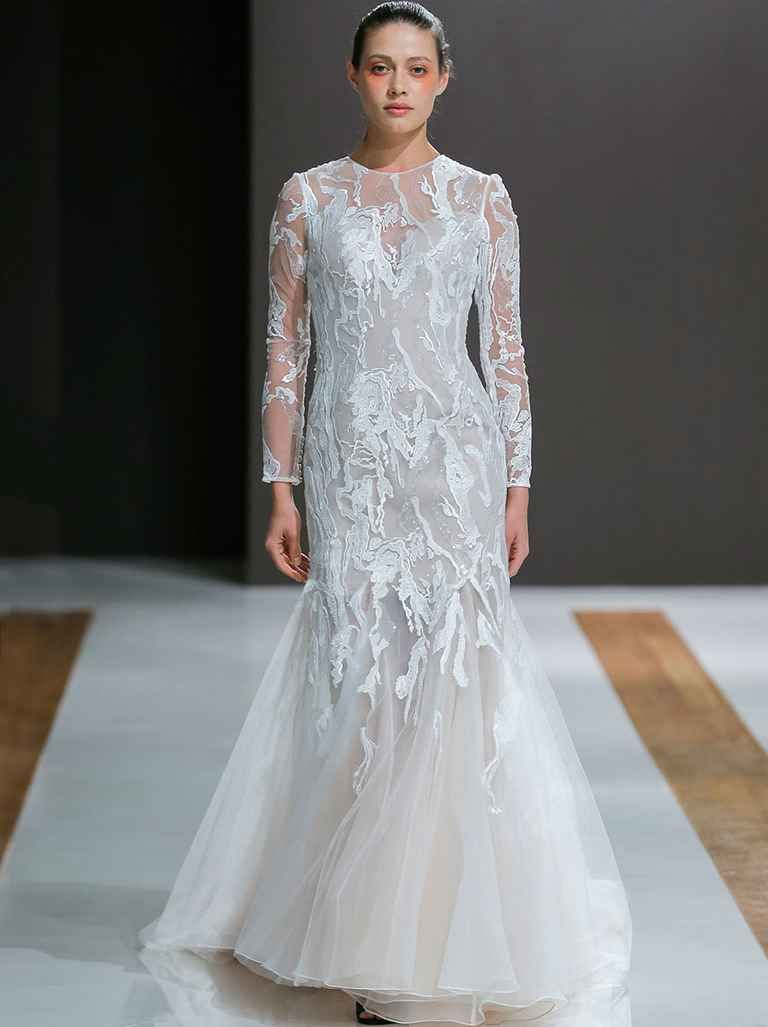 Long lace sleeve wedding dress  Mark Zunino Fall  Ethereal Yet Glamorous Wedding Dresses  Mark