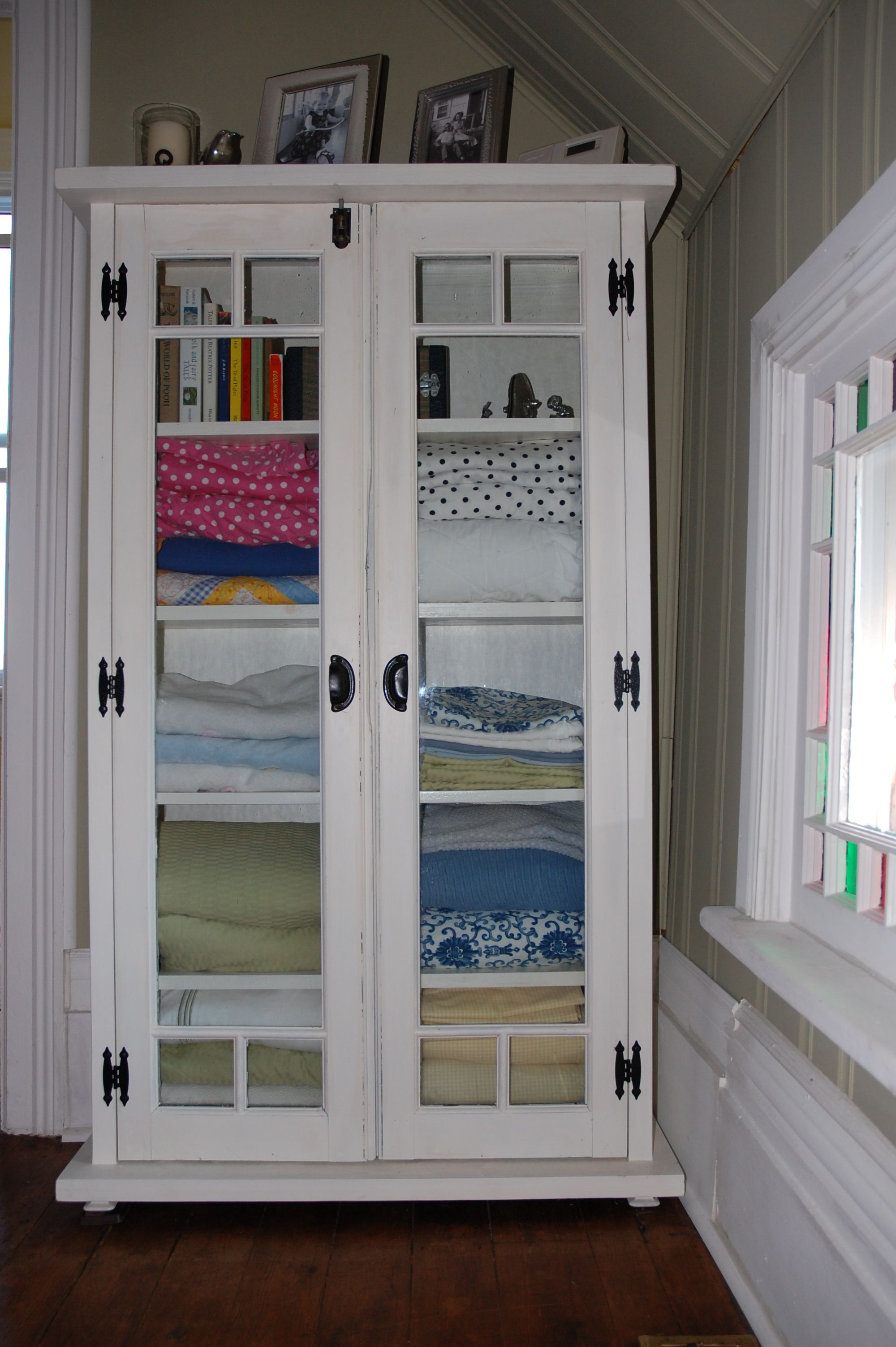 Old Windows Used As Linen Cabinet Doors Creative Home Decor