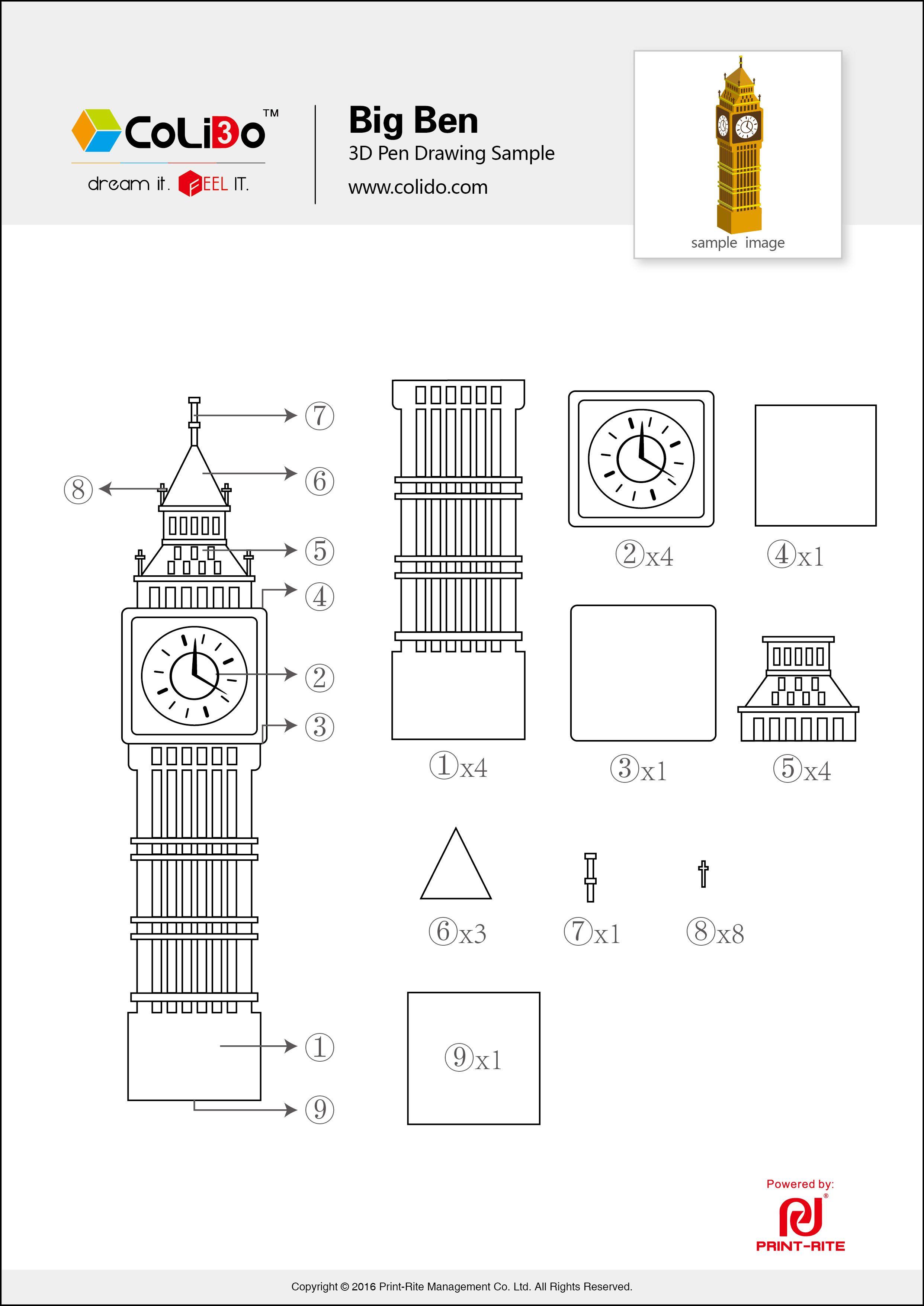 Colido 3d Pen Stencil Big Ben