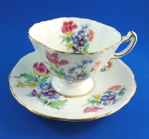 Pretty Colorful Floral Bouquet Hammersley Tea Cup and Saucer Set