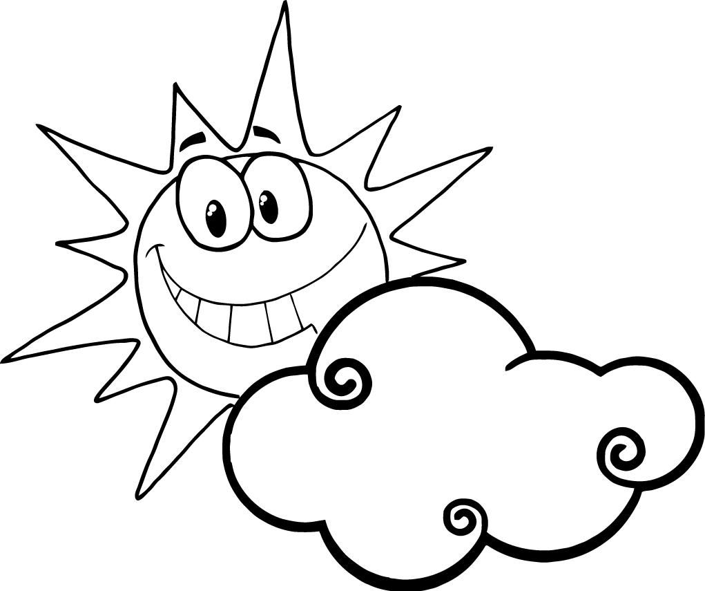 Colouring pages for sun - Sun Happyface Coloring Pages Happy Face Sun Coloring Page