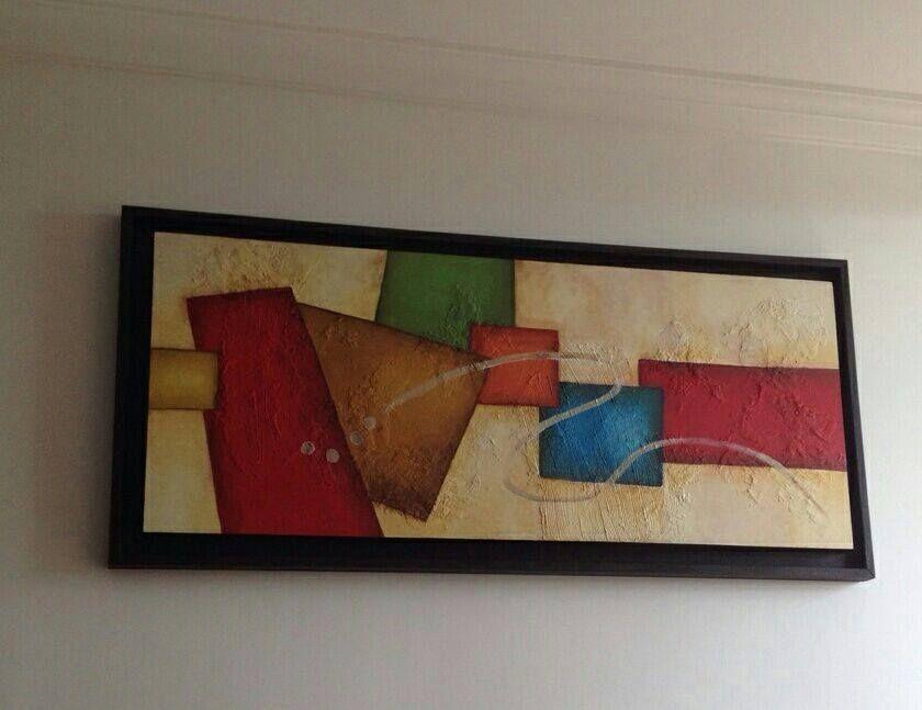 Cuadro en MDF de 1.10x50 cms Pintado al `leo con textura y marco en ...