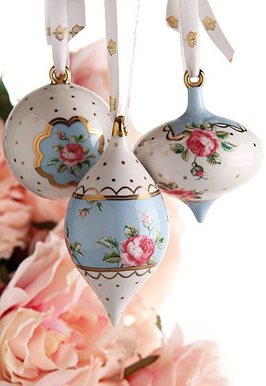 Royal Albert Polka Blue Ornaments, Set of 3