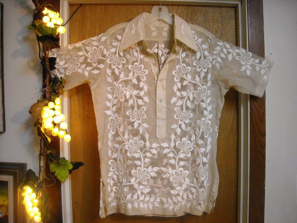 Rare vintage hand embroidered philippine barong tagalog for Barong tagalog wedding dress