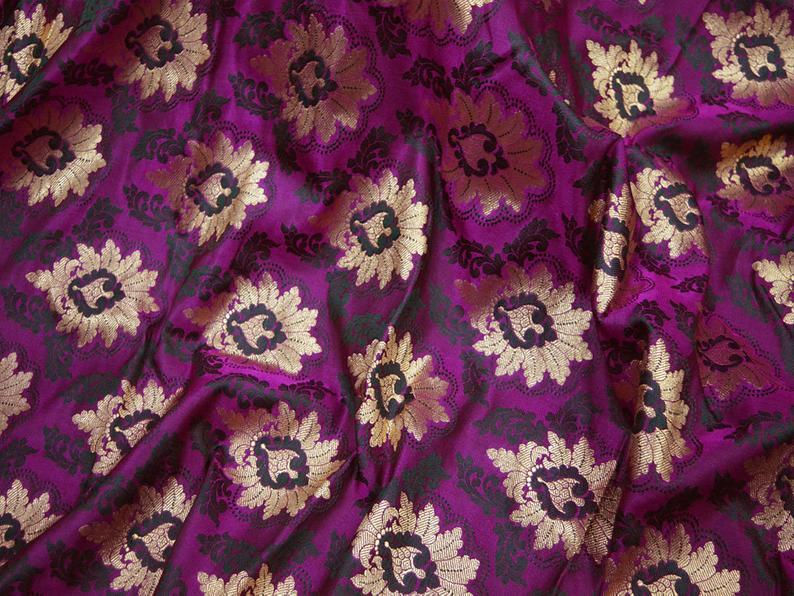 Purple Jacquard Fabric Indian Brocade Wedding Dress Banarasi Fabric by the Yard crafting sewing bridesmaid Costume Skirts Vest Coat Cushions
