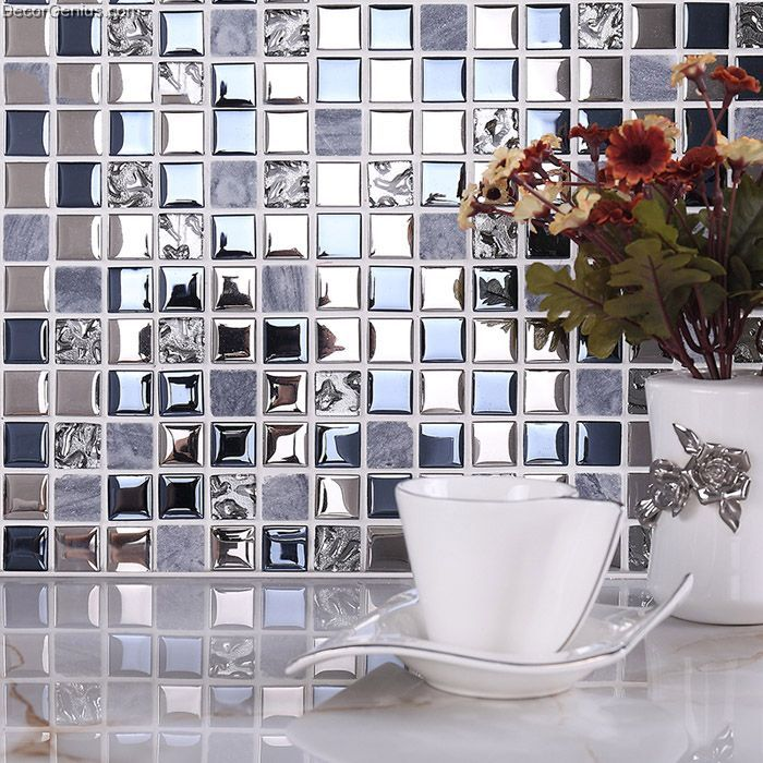 Blue Silver Wall Tile Blend Metal And Glass Stainless Steel Mosaic