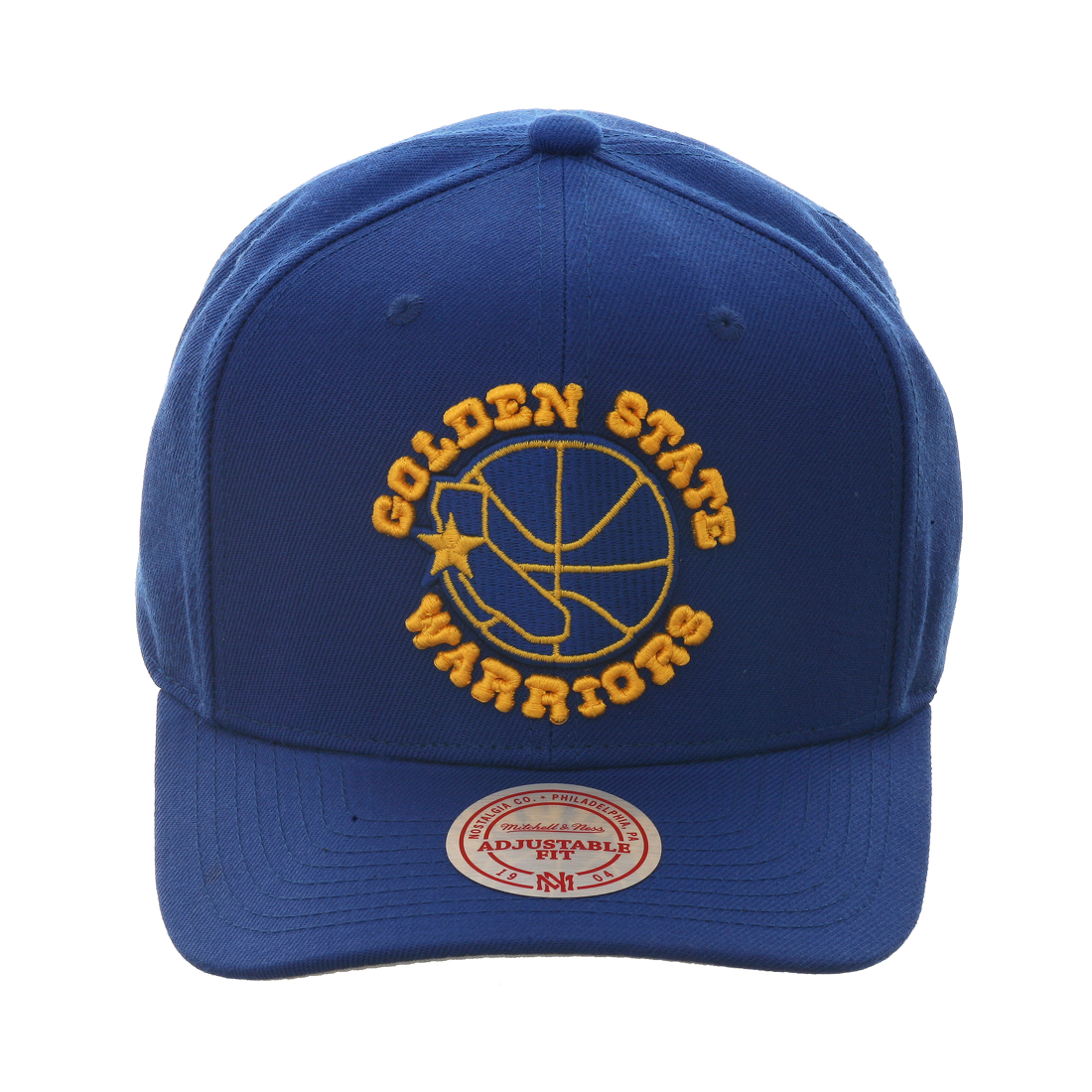 31b2a6c50e0d9 Men s Golden State Warriors Mitchell   Ness Royal Gold Cropped XL Logo Adjustable  Snapback Hat