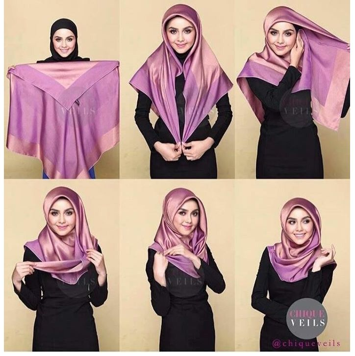 Tutorial Hijab Satin Segi Empat Polos Hijab Style Tutorial How To Wear Hijab Stylish Hijab