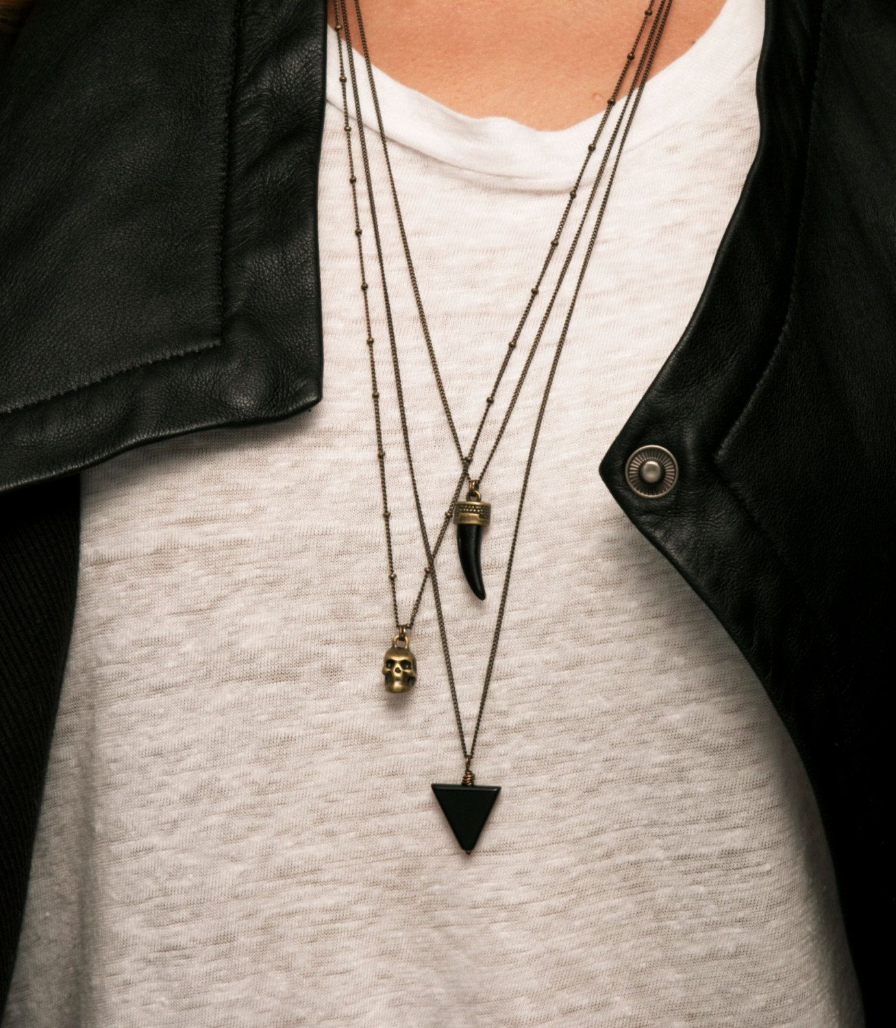 Edgy layered necklace set bohemian pendant necklaces simple long