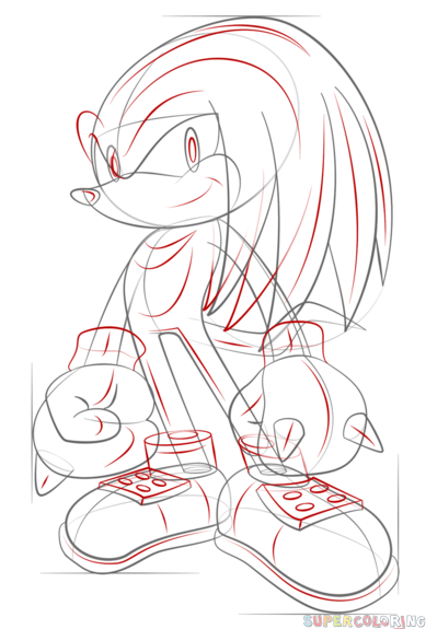 how to draw knuckles the echidna step by step drawing tutorials