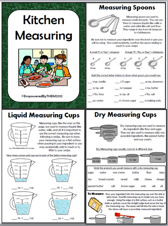 Measuring Cups and Spoons Identification Worksheets - Special ...