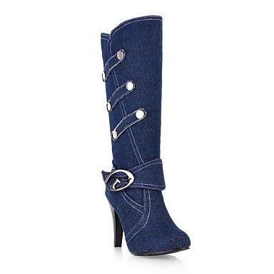 8ce751c96829 Women s Fall Winter Fashion Boots Denim Dress Chunky Heel Buckle Black Blue