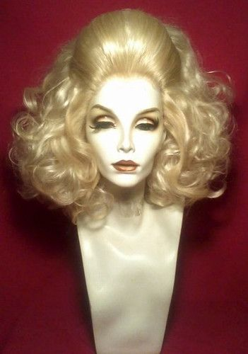 New Lace Front Drag Queen Platinum Blonde Wig Big Beehive