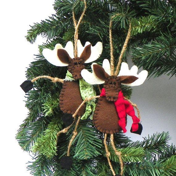 Brown Felt Moose Christmas Ornament Mr Moose by PaisleyMoose - moose christmas decorations