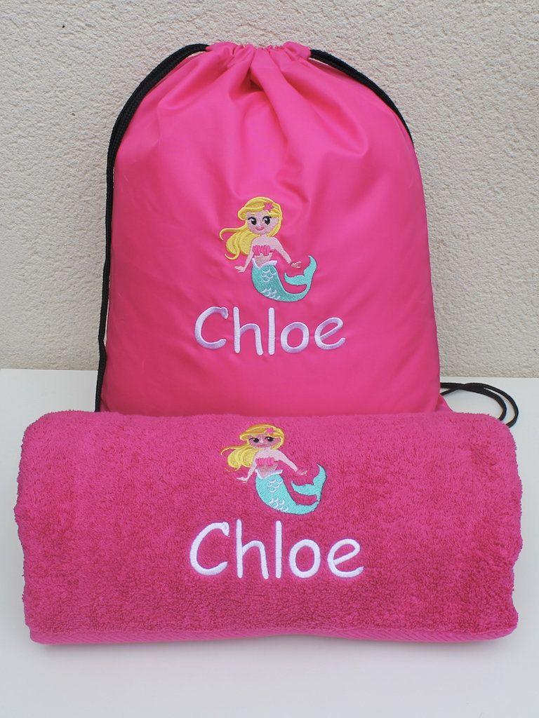 Childs Personalised Towel Bag Mermaid Set Girls Swim Bag