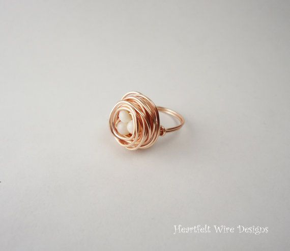 Birds Nest Ring Rose Gold by heartfeltwiredesigns on Etsy $15 00