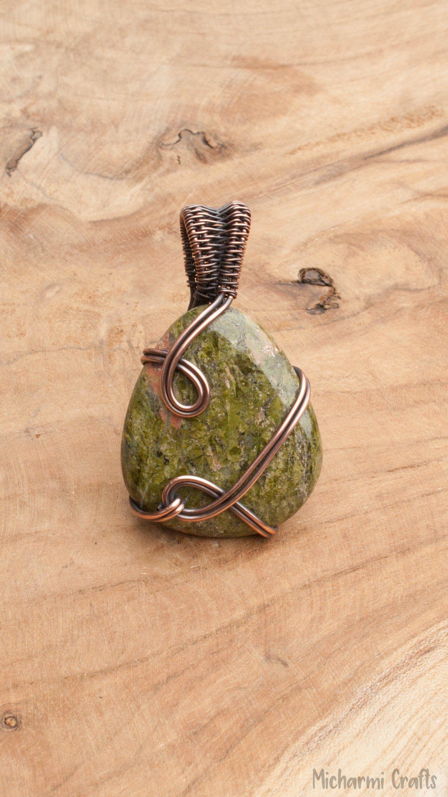 Photo of Green Simple Unakite Jasper Pendant Necklace, Copper Wire Wrap Gemstone Jewelry