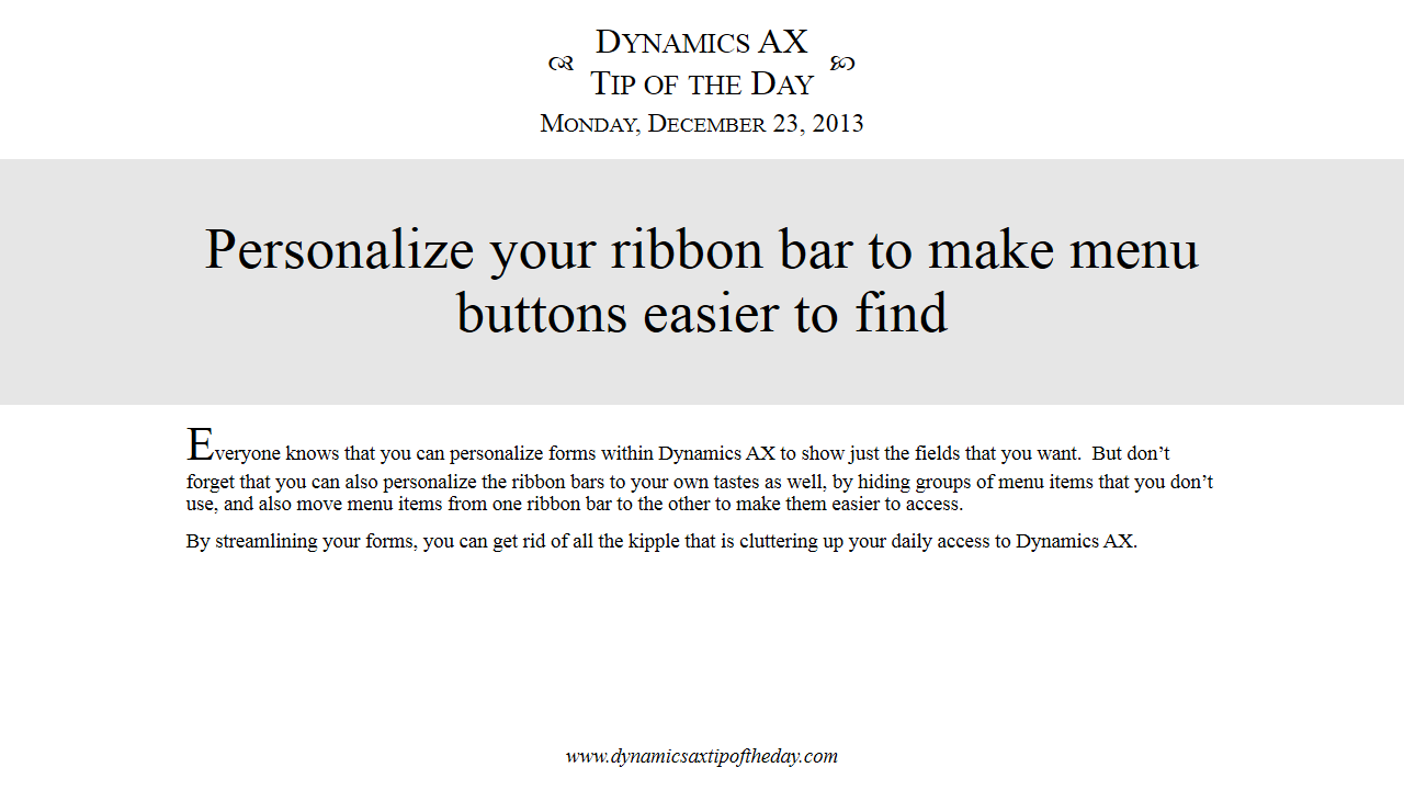 Personalize your ribbon bar to make menu buttons easier to find