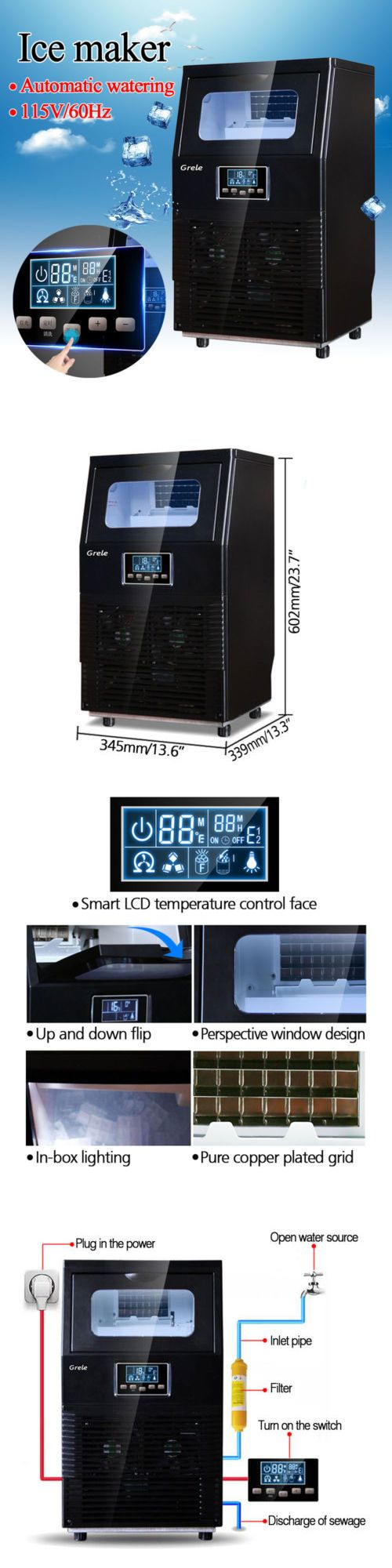 Countertop Ice Makers 122929 New 2018 Intelligent Automatic Lcd
