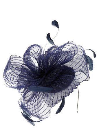 Navy Gemma Pleated Crin Fascinator Hats Fascinators Women