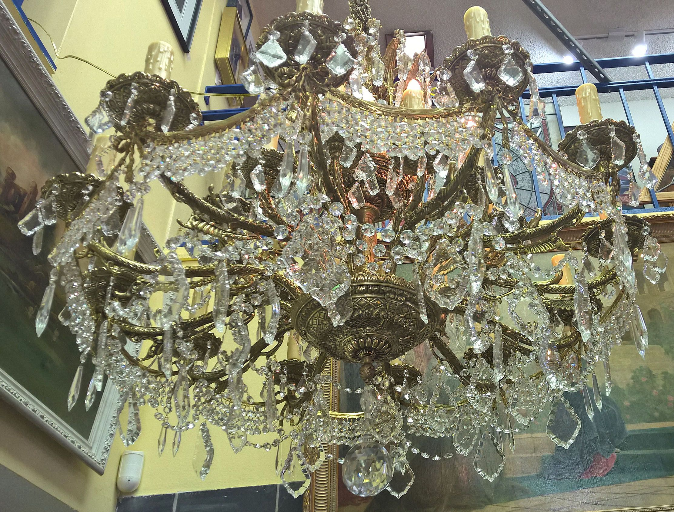 Chandelier 24 lights 1700 prisms solid brass with French swags
