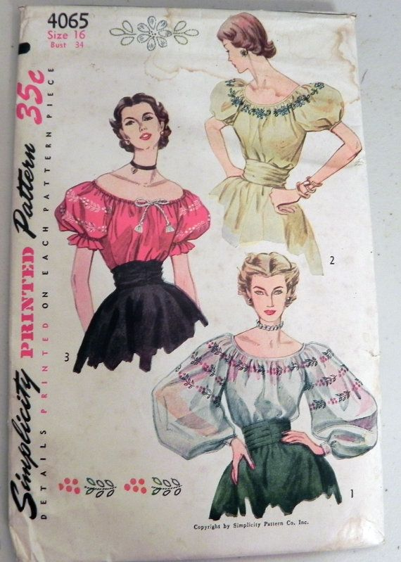70695f8acbe 1950s Peasant Blouse pattern with Embroidery Transfer Simplicity ...