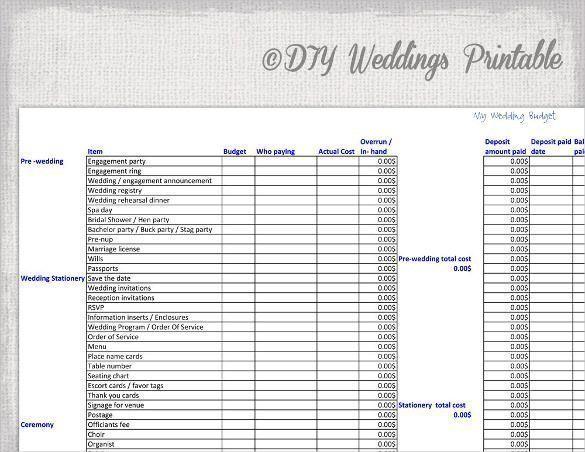 Wedding Budget Spread Sheet For , Wedding Budget Spreadsheet Excel