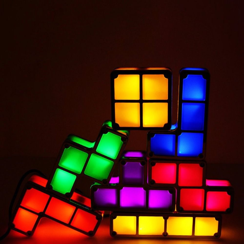 diy led night light wall sconce diy tetris puzzle light constructible block stackable led night desk lamp game tower children colorful