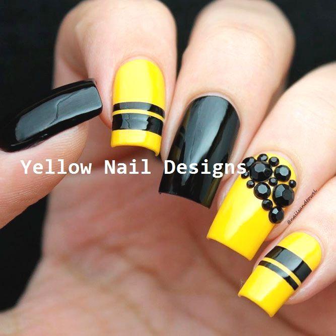 23 Great Yellow Nail Art Designs 2019 Yellownaildesign Yellownails Unhas Coloridas Unhas Amarelas Unhas Pretas