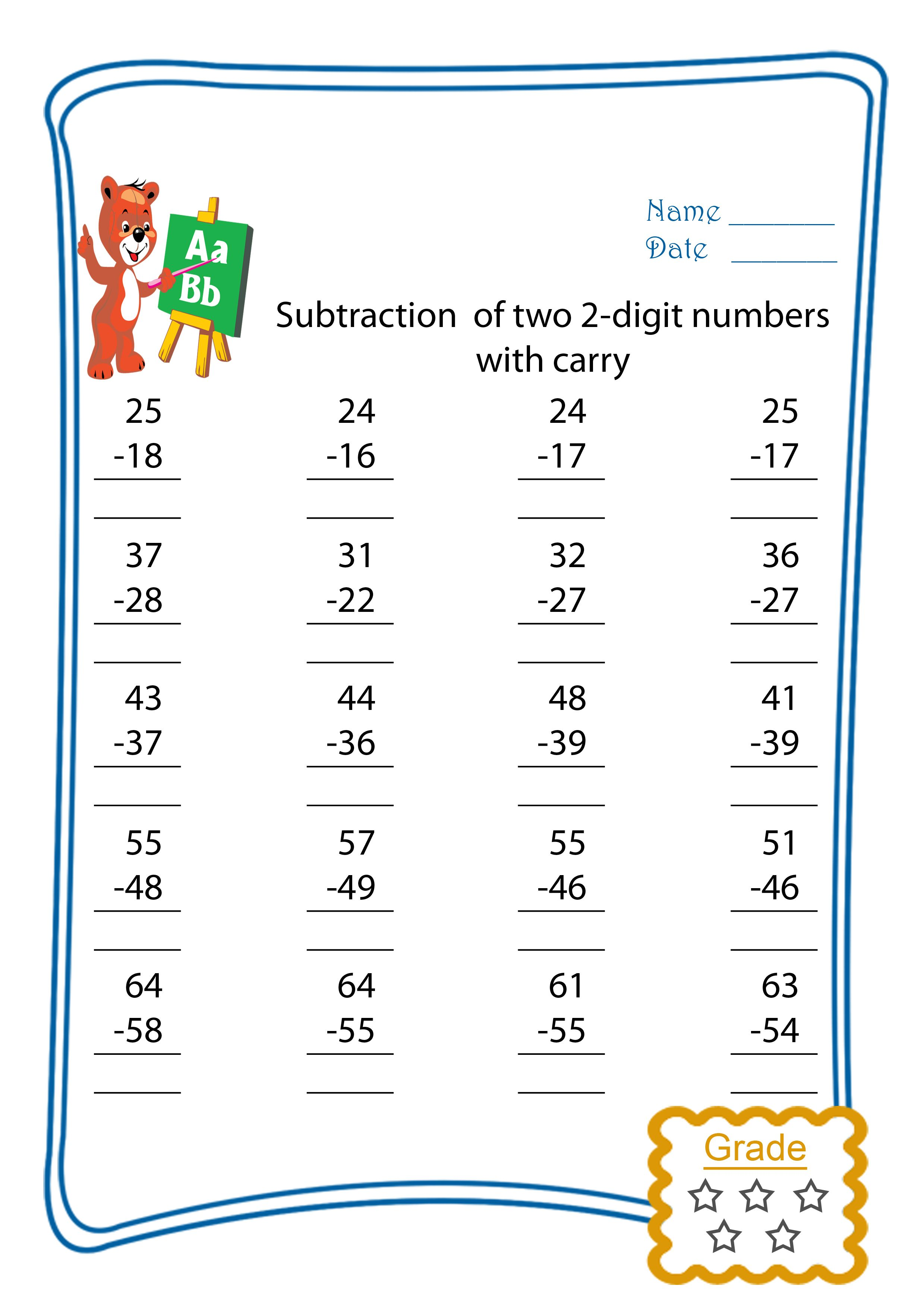 Subtract Two 2 Digit Numbers With Carry Freebie