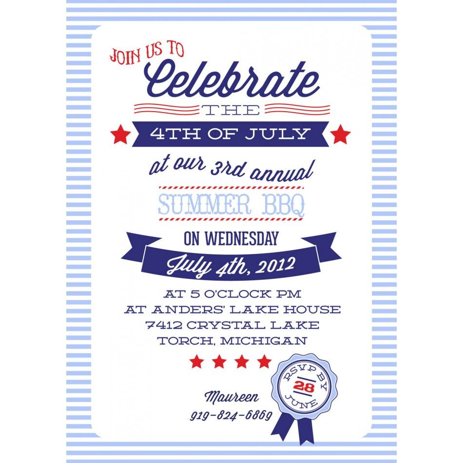 all american bbq party printable invitation 4th of july party