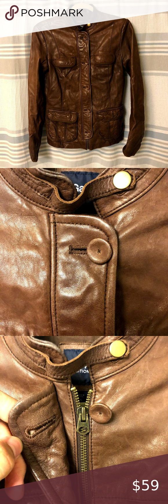 Gap Edition 100 Leather Brown Jacket Small Purple Leather Jacket Zipped Leather Jacket Brown Jacket