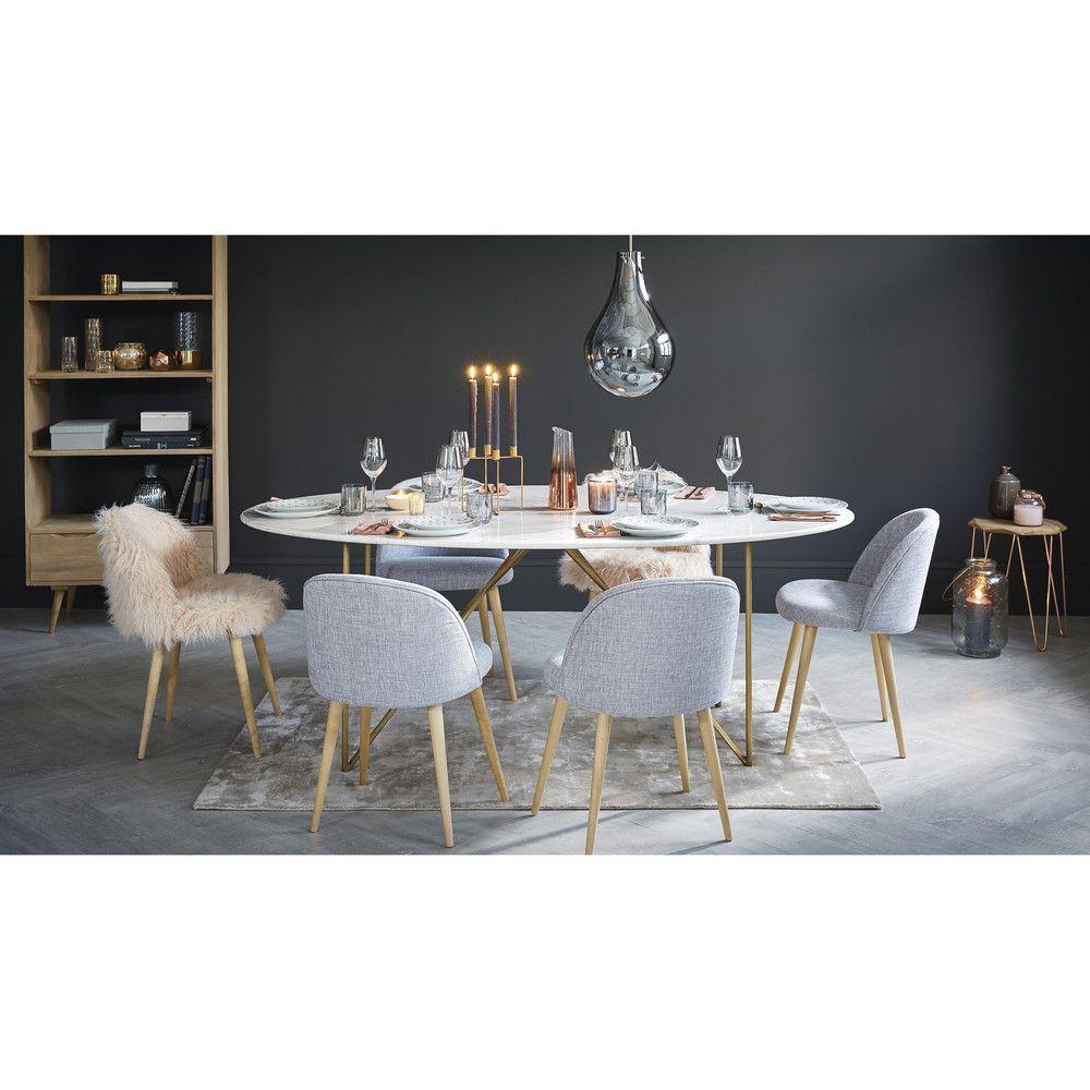 Maison Du Monde Tavoli Da Pranzo.Tavolo Da Pranzo 4 6 Persone In Marmo Bianco E Ferro Dorato