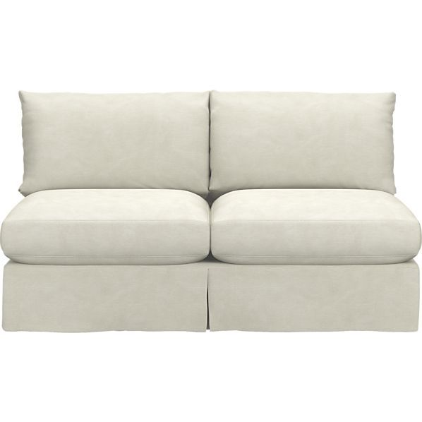 Lounge Slipcovered Sectional Armless Loveseat in Sofas | Crate and Barrel
