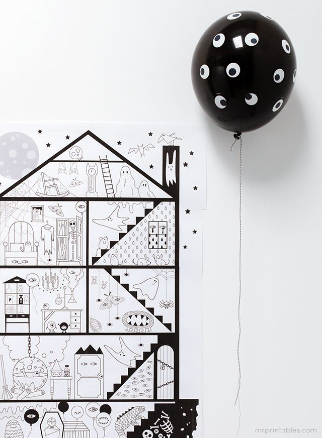 Giant Haunted house coloring page