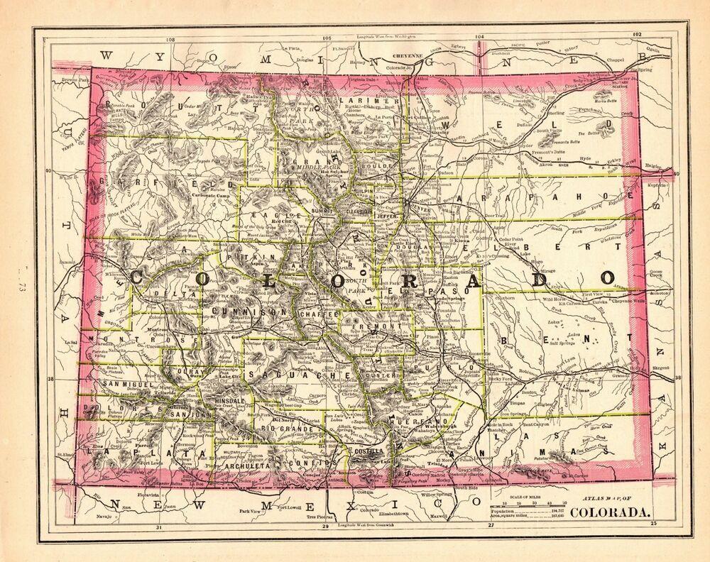 1886 Antique Colorado State Map Vintage Map Of Colorado Gallery Wall Art 6330 Map Of Florida Art Gallery Wall Colorado Map