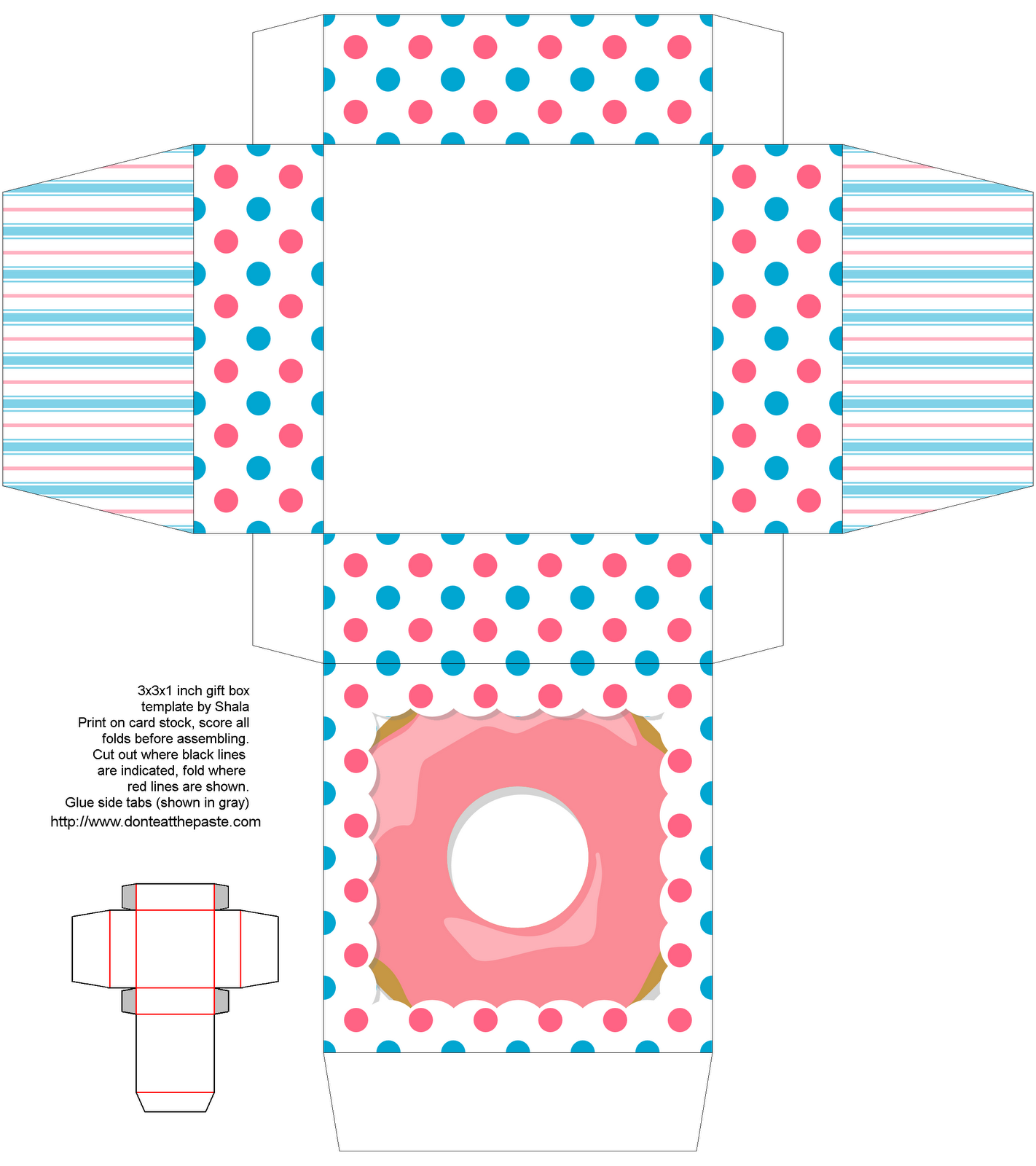 Free Template Donut Box Template | Edible home crafts | Pinterest ...