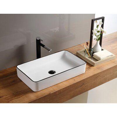Hometure Above Ceramic Rectangular Vessel Bathroom Sink Top Mount Bathroom Sink Square Bathroom Sink Small Bathroom Sinks
