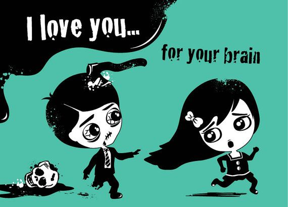 Zombie i love you for your brain card by bluelotuscompany on etsy