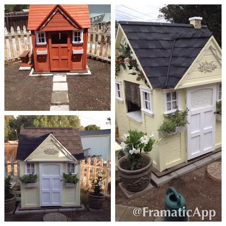 We Bought This Playhouse At Costco Painted It Put A Roof On It And Fixed It Up Inside And Out For Our Gra Play Houses Build A Playhouse Outside Playhouse