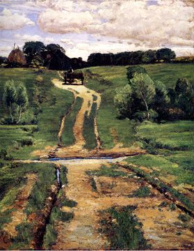 """A Back Road,"" by Childe Hassam, oil on canvas, 31 ¼ by 25 inches, Brooklyn Museum of Art, Caroline H. Polhemus Fund, 1884"