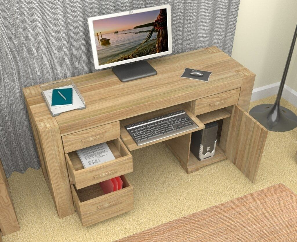 Oak Wood Computer Desk For Home Office With Some Drawers